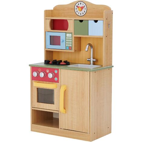 Teamson Kids Burlywood Kids Wooden Play Kitchen Toy & 5 Accessories TD-11708A