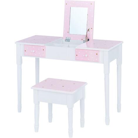 Teamson Kids 'Kate' Play Dressing Table/Vanity with Storage Pink/White TD-13295A