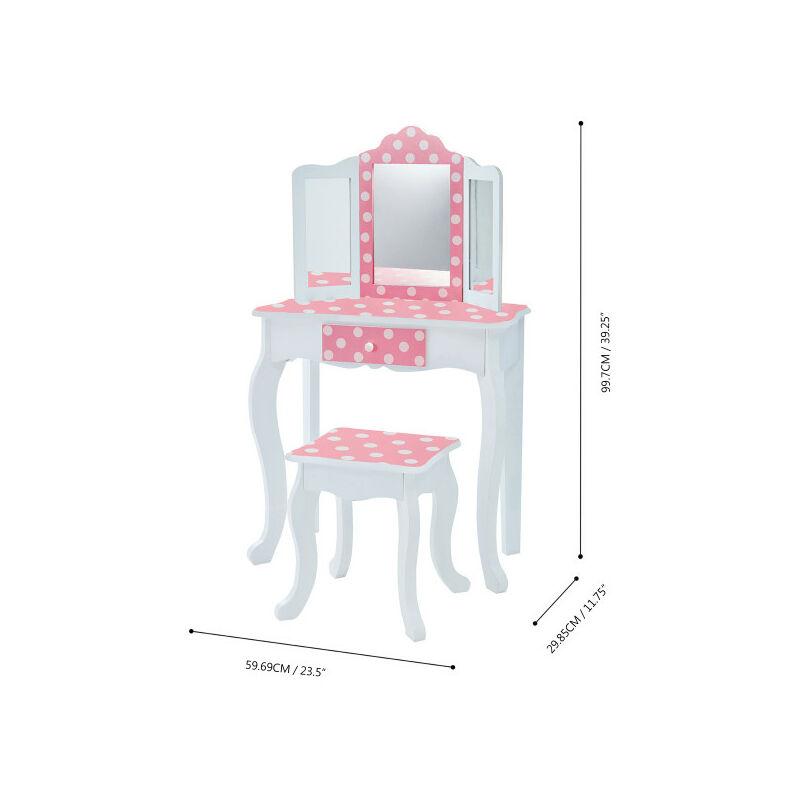 con Sgabello e Specchio con cassetto Teamson Giocattoli educativi per Bambini di 3 Anni Colore: Rosa Tavolo da toeletta in Legno per Bambini Colorbaby 85388