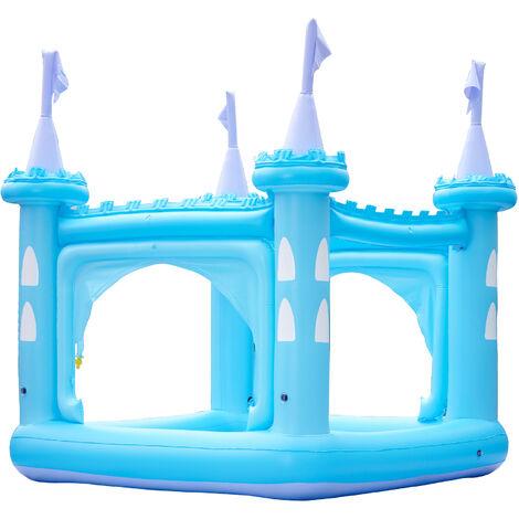 Teamson Kids Water Inflatable Giant Paddling Pool with Sprinkler Outdoor Garden Blue Castle for Boys & Girls TK-48271B-UK/EU