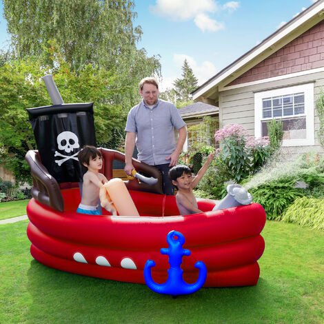Teamson Kids Water Inflatable Pirate Boat Outdoor Garden Red Play Centre for Boys & Girls, with Accessories TK-48272R-UK/EU