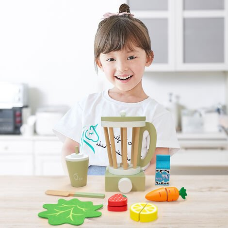Teamson Kids Wooden Blender Toy Play Kitchen Accessories 13 Pc Green TK-W00008