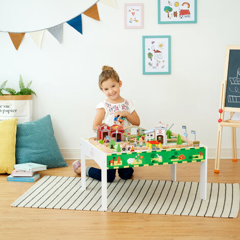 Teamson Kids Wooden Train Set & Play Table & Track (85 Pcs) (Brio Comp) PS-T0003