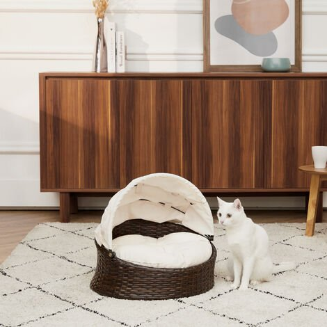 """main image of """"Teamson Pets Clotho Indoor Outdoor Rattan Cat or Small Dog Bed Lounger with Retractable Canopy & Removeable Washable Cushion Brown/Cream ST-N10004-UK"""""""