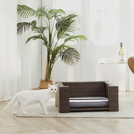 """main image of """"Teamson Pets Clotho Indoor Outdoor Rattan Cat or Small Dog Elevated Bed Lounger with Removeable Washable Cushion Brown ST-N10005-UK"""""""