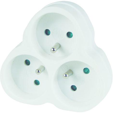TEC HIT 250605 - Triplite 3 Prises x 16 Ampères - Fiche Multiple Façade - Blanc