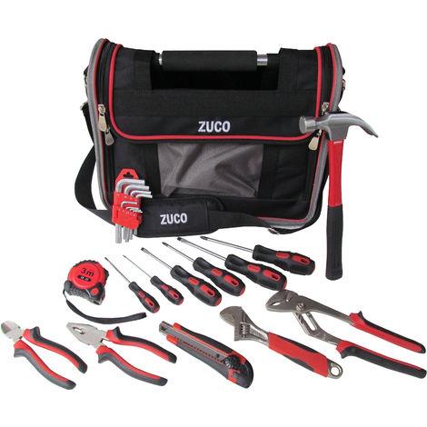 TEC HIT 500023 - Sac d'outils avec rabat et poignée rigide - Avec 23 pièces - Noir / Rouge