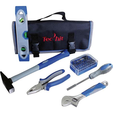 TEC HIT 500036 - Sac d'outils avec 36 pièces - Niveau - Marteau Rivoir - Adaptateur - Clé à molette - Pince - 30 embouts de viss