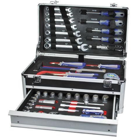 TEC HIT 503045 - Caisse à outils en 1luminium - 1 tiroir - Avec 45 pièces au Chrome Vanadium - Noir / Alu