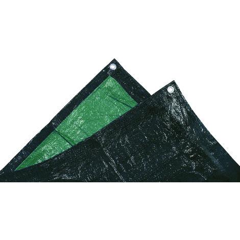 TEC HIT 882508 - Bâche ultra lourde de protection - 240g/m² - 5 x 8 mètres - Vert / Noir
