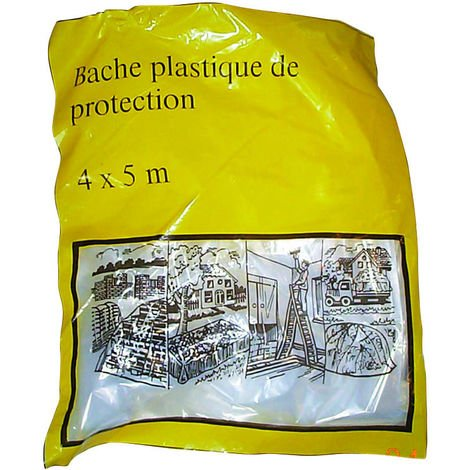 TEC HIT 890015 - Bâche Plastique de Protection - 4 x 5 m - Jetable