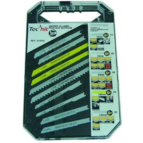 TEC HIT Coffret 10 lames scie sauteuse pour Black&Decker