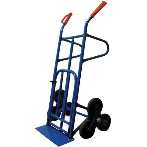 TEC HIT Diable Professionnel pour Escalier - Charge Max 250 kg - 6 Roues - Bleu