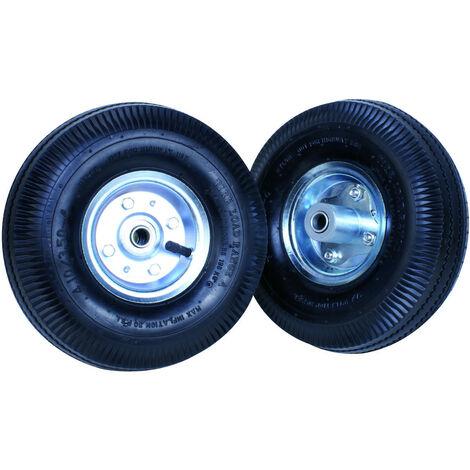 """TEC HIT - Lot de 2 roues Gonflables 10"""" - Ø 25 cm - Axe 16 mm - Pour Chariot Diable 250 Kg - Noir"""
