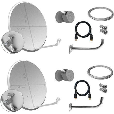 Tecatel K60C1LSCC Kit parabólica 60 cm, Soporte, LNB Universal, Cable y Conectores (K60C2LSCC)