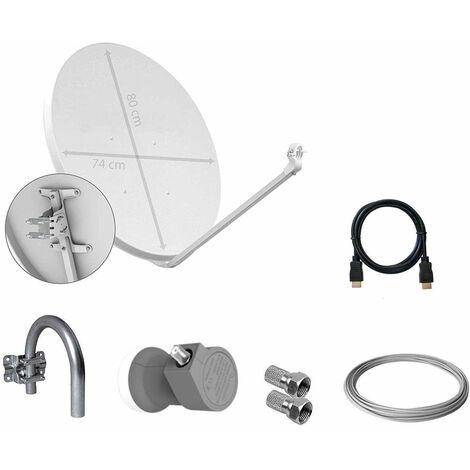 Tecatel K80C1LSCC - Kit parabólica de 80 cm (Soporte, LNB Universal, Cable y Conectores), Color Blanco