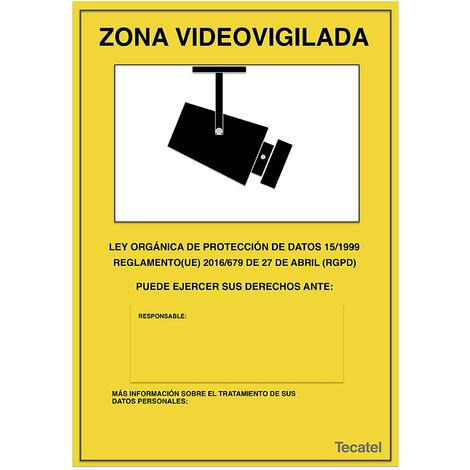 Tecatel SE-ZV01 Cartel de zona videovigilada PVC intemperie 30x21cm Apto Nuevo Reglamento