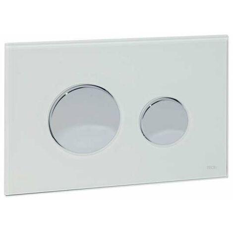 TECE Betätigungsplatte Glas TECEloop für WC-Zweimengentechnik, Glas weiß, Tasten Chrom glänzend 9240