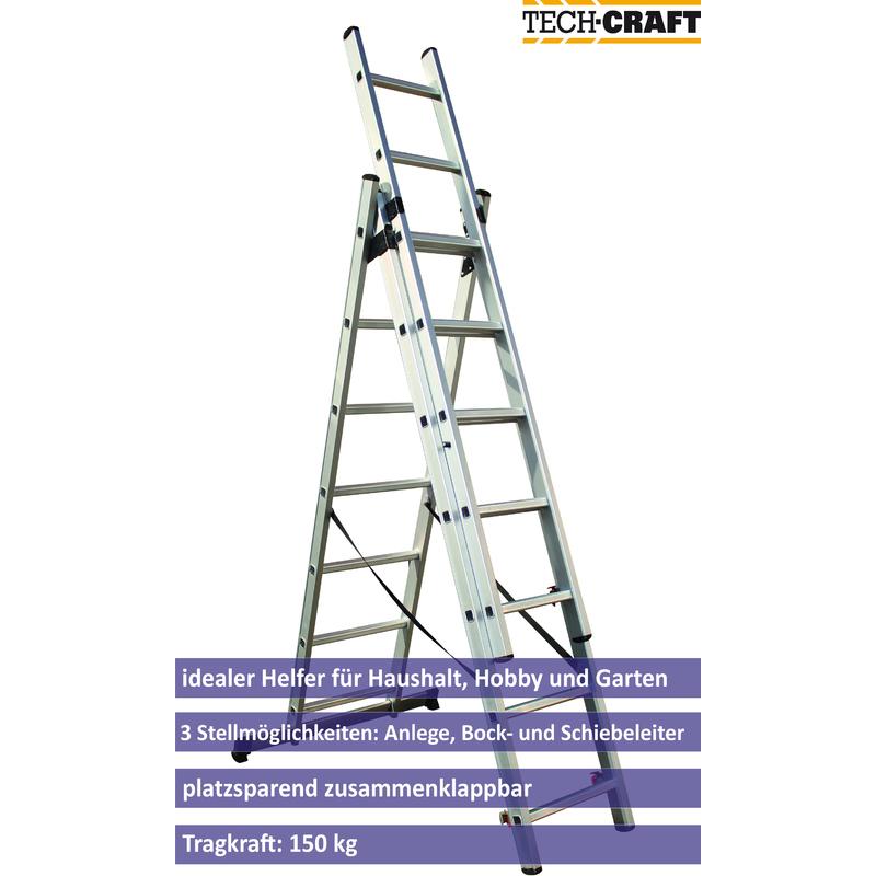 Tech Craft ITCMFL4-2 Haushalts Trittleiter Alu Klappleiter Klapptritt 3 stufig 150 Kg