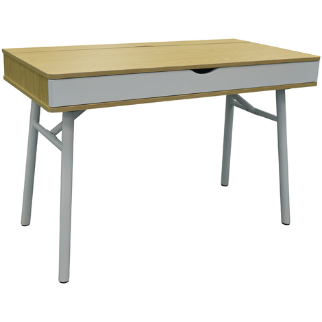 TECH - Modern Retro Hideaway Office Desk / Computer Workstation - Oak / White