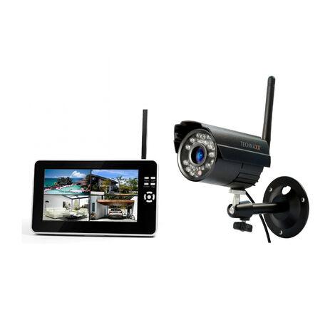 """Technaxx Ensemble de télésurveillance extérieure filaire et sans fil avec caméra et écran LCD 7"""" à fonction enregistrement"""