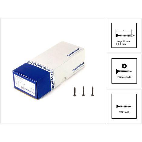 Technofast FF3930RD 1000 x Gipskartonschrauben Trockenbauschrauben 3,9 x 30 PH2 Feingewinde