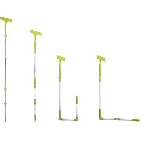 TECHNOSMART Limpiacristales telescópico 3 en 1, Espátula multifuncional con palo telescópico extensible y ajustable, Rasqueta limpiacristales desmontable, Escobilla de goma con funda de microfibra