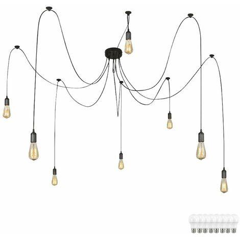 Techo cable lámpara de techo 1.5 -. 3,5 m lámpara de techo de cuerpo negro en un conjunto con bombillas LED