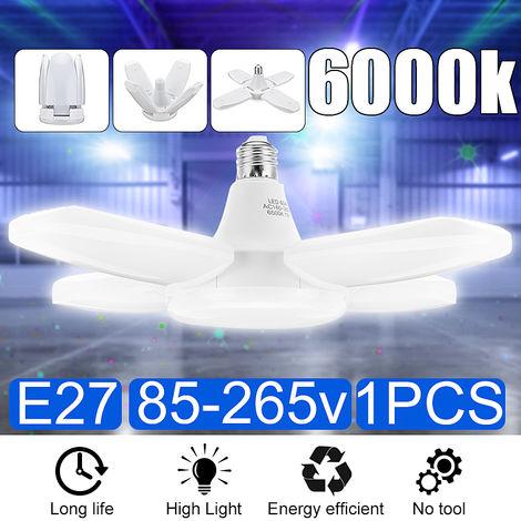 Techo de garaje LED, base de lámpara de trabajo plegable E27 6000K Nature Light 60W para granero, garaje, almacén 85-265V