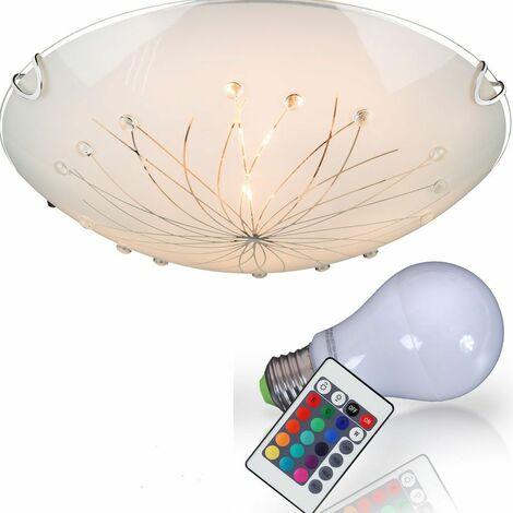 Techo decoración lámpara líneas patrón de vidrio transparente de control remoto luz satén dimmer en el conjunto incluyendo RGB lámparas LED
