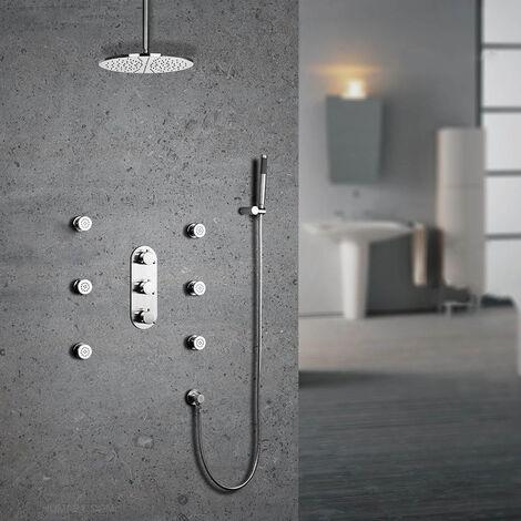 Techo termostático de ducha de lluvia en latón macizo en níquel cepillado Válvula de ducha estándar con soporte de pared 300 mm