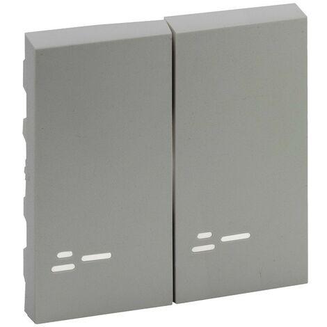 Tecla doble con visor Legrand 864308 serie Niloe Step Aluminio