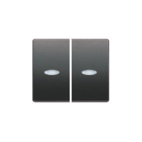 Tecla doble interruptor o conmutador luminoso antracita cosso BJC Mega 22709-ACL