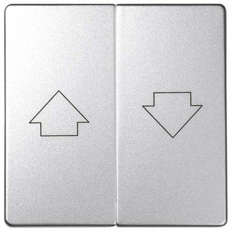 Tecla doble para mecanismos de persiana con enclavamiento Simon 82 Concept 82028-93 Aluminio Frio