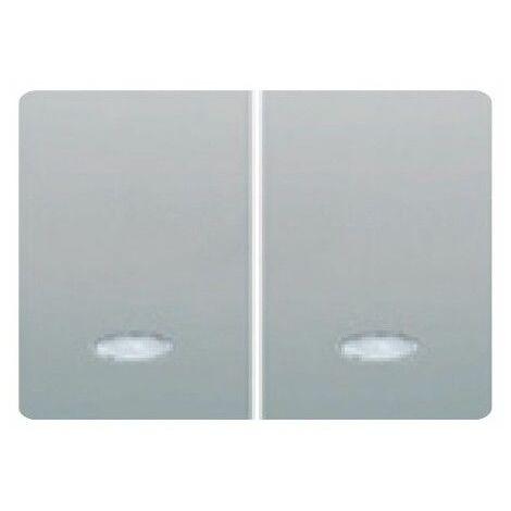 Tecla doble pulsador luminoso PLATA LUNA BJC Coral 21709-PLL