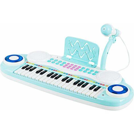 Teclado de Piano de 37 Teclas para Niños Piano de Juguete Instrumento Musical con Función de Grabación y Reproducción, Incluido Micrófono y Partitura (Azul)