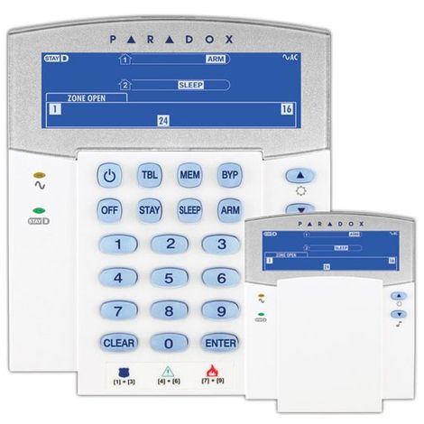 Teclado Paradox con pantalla azul LCD de iconos con switch
