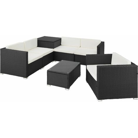 Rattan garden furniture lounge Pisa - garden sofa, garden corner sofa, rattan sofa - black