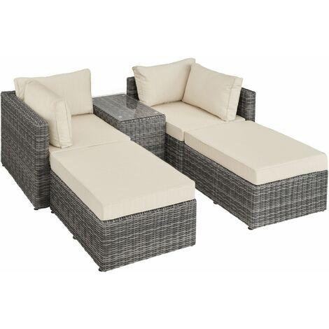 Rattan garden furniture set San Domino with aluminium frame - garden sofa, rattan sofa, garden sofa set - grey - grau
