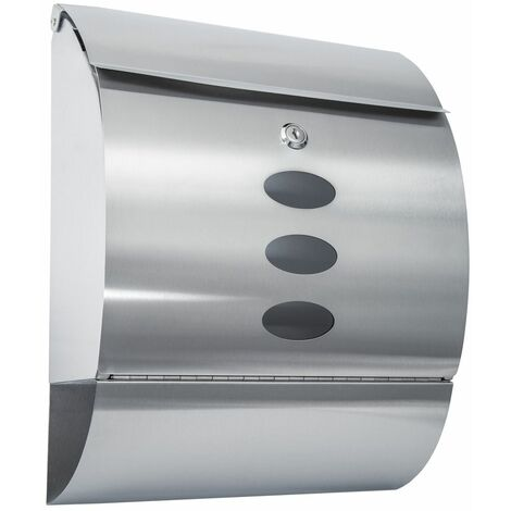 Mailbox with newspaper tube rounded stainless steel - letterbox, post box, stainless steel letterbox - silver