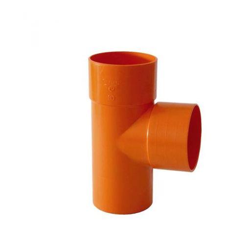 """main image of """"TEE BRAGA IN PVC ARANCIO ROSSO DERIVAZIONE A 87° ACQUA FOGNA-DIAM.50 mm"""""""