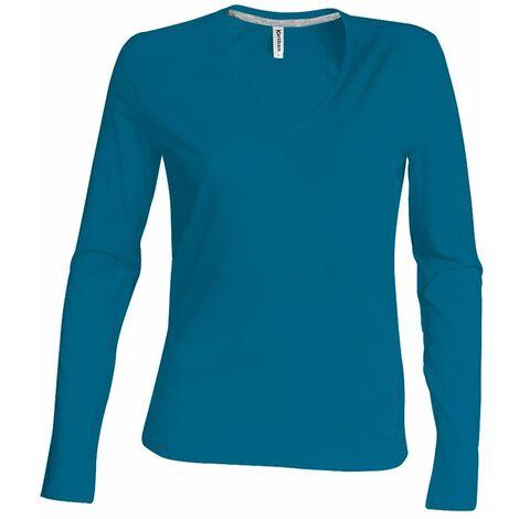 T-shirt /à manches longues et col en V coupe cintr/ée Kariban pour homme