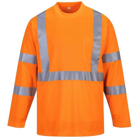 Tee Shirt Haute Visibilité Manches Longues Portwest avec poche