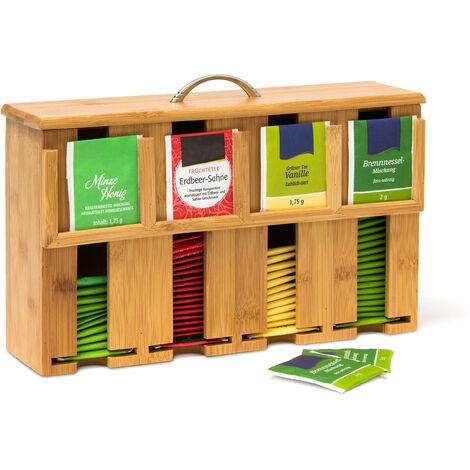 Teebeutelspender aus Bambus H x B x T: 22 x 33,5 x 10 cm Teebox für ca. 160 Teebeutel Teekiste mit abnehmbarem Deckel samt Griff Teebeutelbox mit 4 Fächern und Halter Teekasten Holz, natur