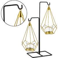 Teelichthalter Kerzenständer (Gr. 29 x 11 x 36,5 cm) aus Metall in Messing