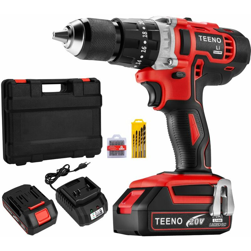 TEENO Perceuse Visseuse à Percussion Sans Fil 20V à 2 Vitesses avec Marteau et 2 Batteries Lithium-ion (2,0 Ah), Mandrin Métal 13mm Max Couple 45N. m, Charge Rapide 1h