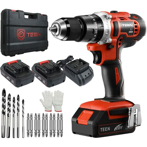 TEENO Perceuse Visseuse à Percussion Sans Fil 20V à 2 Vitesses avec Marteau et 2 Batteries Lithium-ion (2,0 Ah), Mandrin Métal 13mm Max Couple 45N. m, Charge Rapide 1h - Rouge