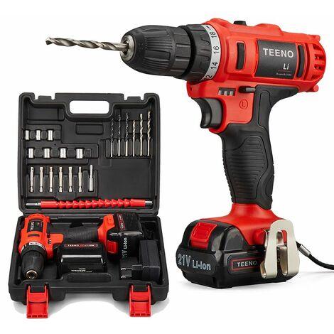 TEENO Perceuse visseuse sans fil 21V,2 Batteries,2 Vitesses,21 Accessoires (Perceuse et Deux batteries)