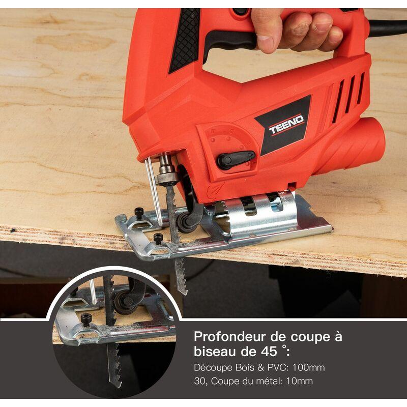 6 Vitesses avec 6 accessoires Angle Max 45/° Hauteur de Course 22mm TEENO Scie Sauteuse,Professional 600W Scie Sauteuse /électrique 3000SPM