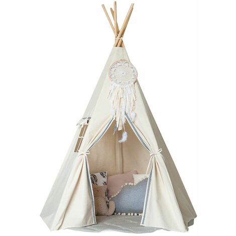 Teepee Children's White Cotton Canvas Play Tent